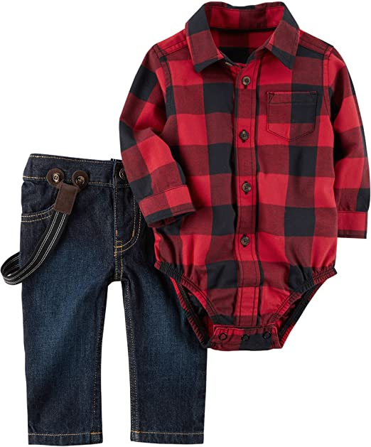 9b9f35c54 Carters Baby Boys' 2 Piece Plaid Bodysuit and Overalls Set Red 12 Months