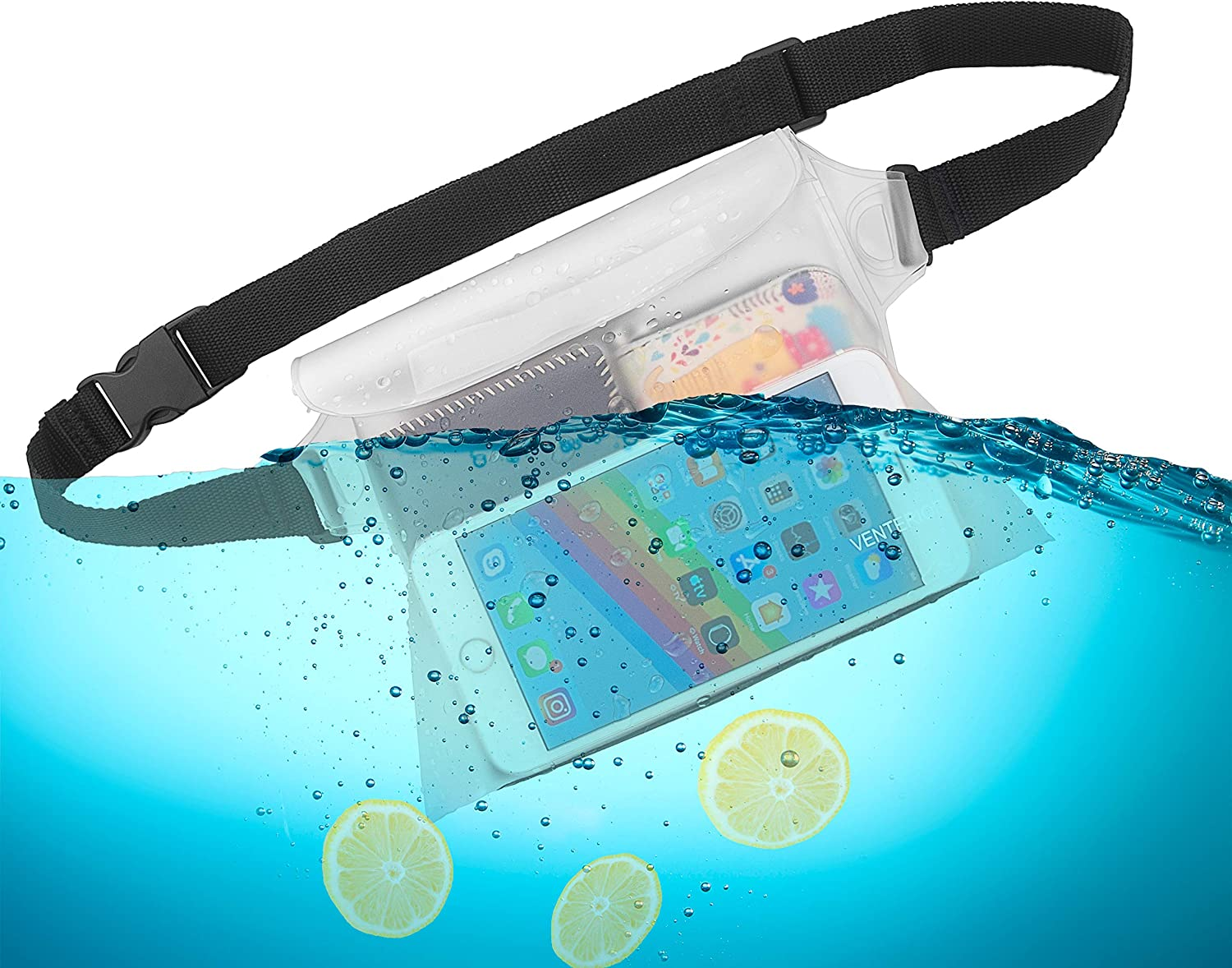 Keep Your Phone Wallet License Safe and Dry Venterior Waterproof Pouch 2 Pack with Adjustable Waist Strap Perfect Dry Bag for Swimming Snorkeling Boating Sailing Water Parks