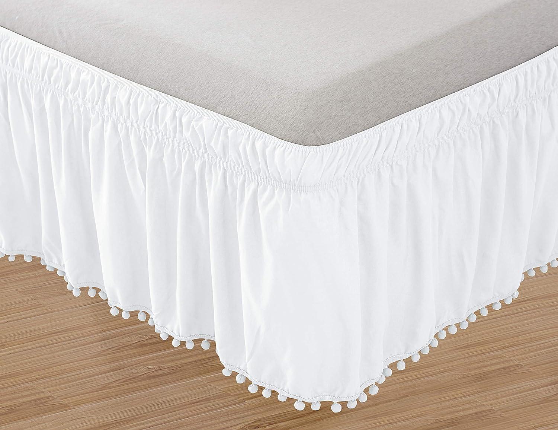 Elegant Comfort Top-Knot Tassle Pompom Fringe Ruffle Skirt Around Style Elastic Bed Wrap- Wrinkle Resistant 16inch Drop Twin/Full White