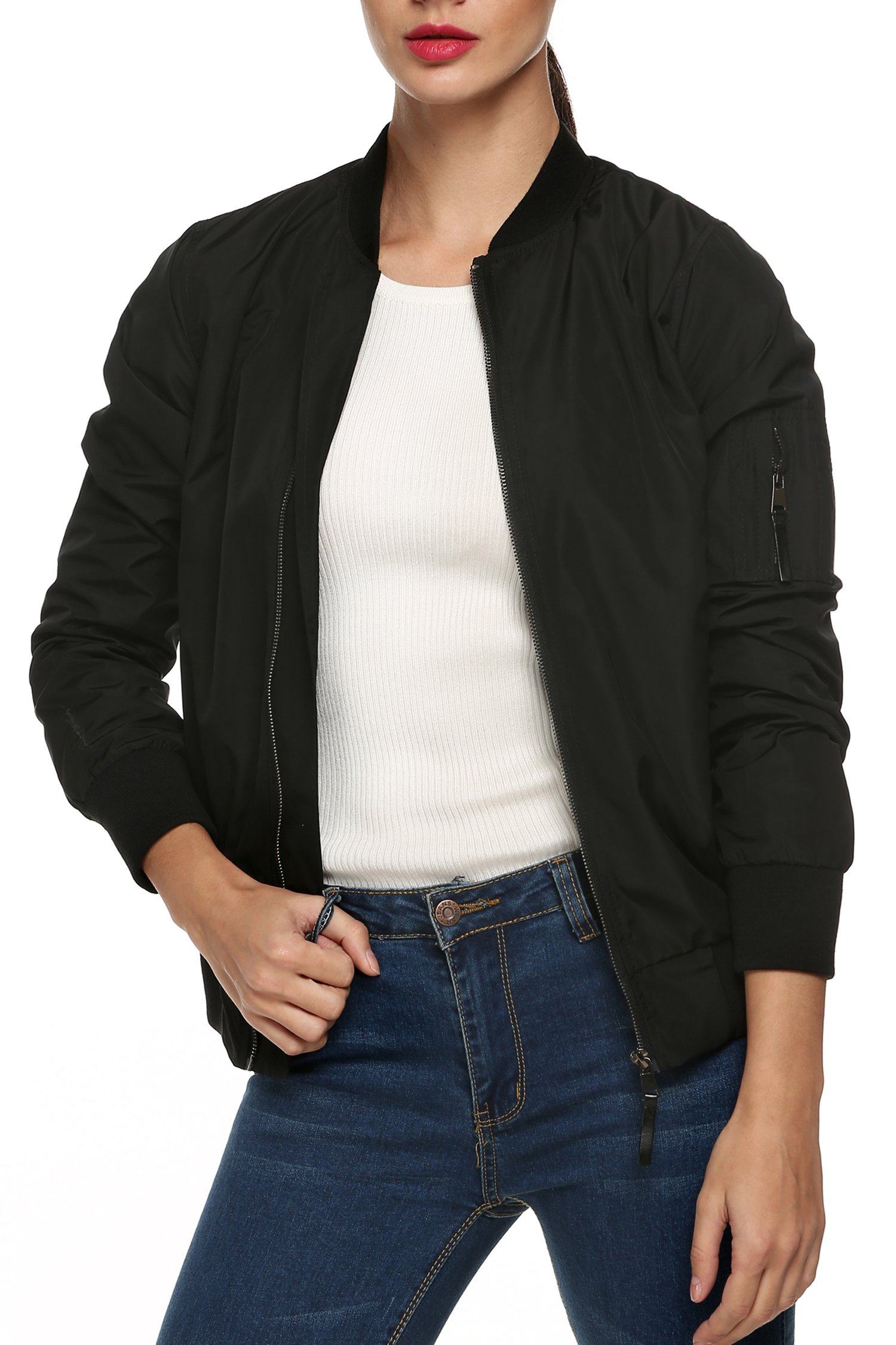 Zeagoo Womens Classic Quilted Jacket Short Bomber Jacket Coat, Black New, Large