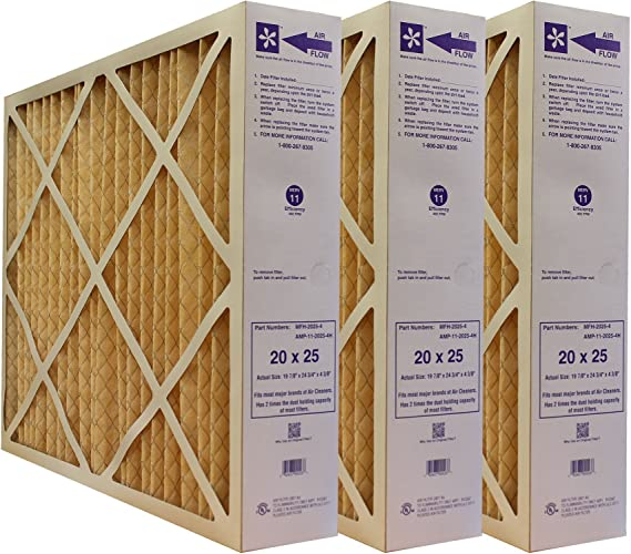 20x25x15 4 pk. 4 pieces 3-Ply Cube Air Filter