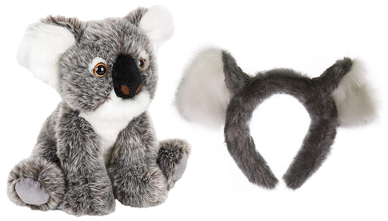 野生動物ツリーStuffed Plush動物園動物耳ヘッドバンドとテールセットwith Plush Toy動物バンドル  コアラ B079VDSJNH