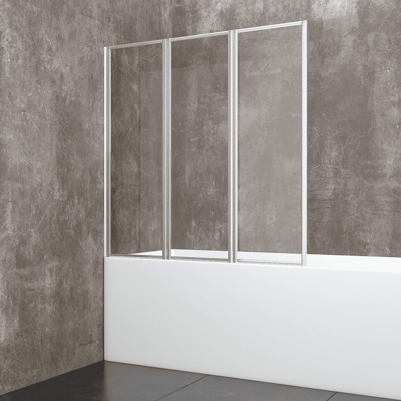 Parete Da Vasca 3 Ante Pieghevoli Sopravasca Surat In Cristallo Temperato Trasparente da 6 mm Profilo In Alluminio Anodizzato 134 x 140 cm
