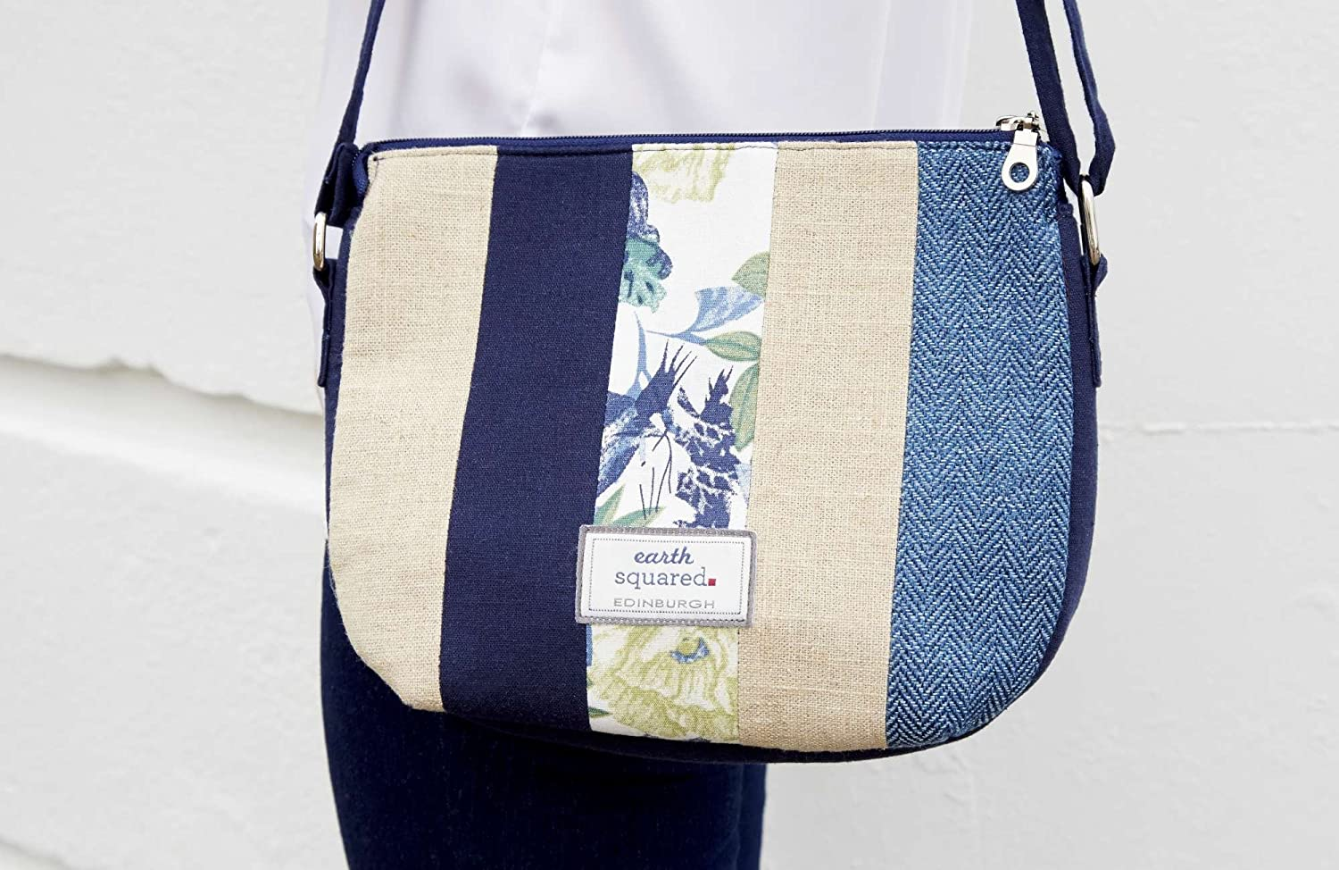 Earth Squared Blue Patchwork Messenger Cross Body Bag Purse