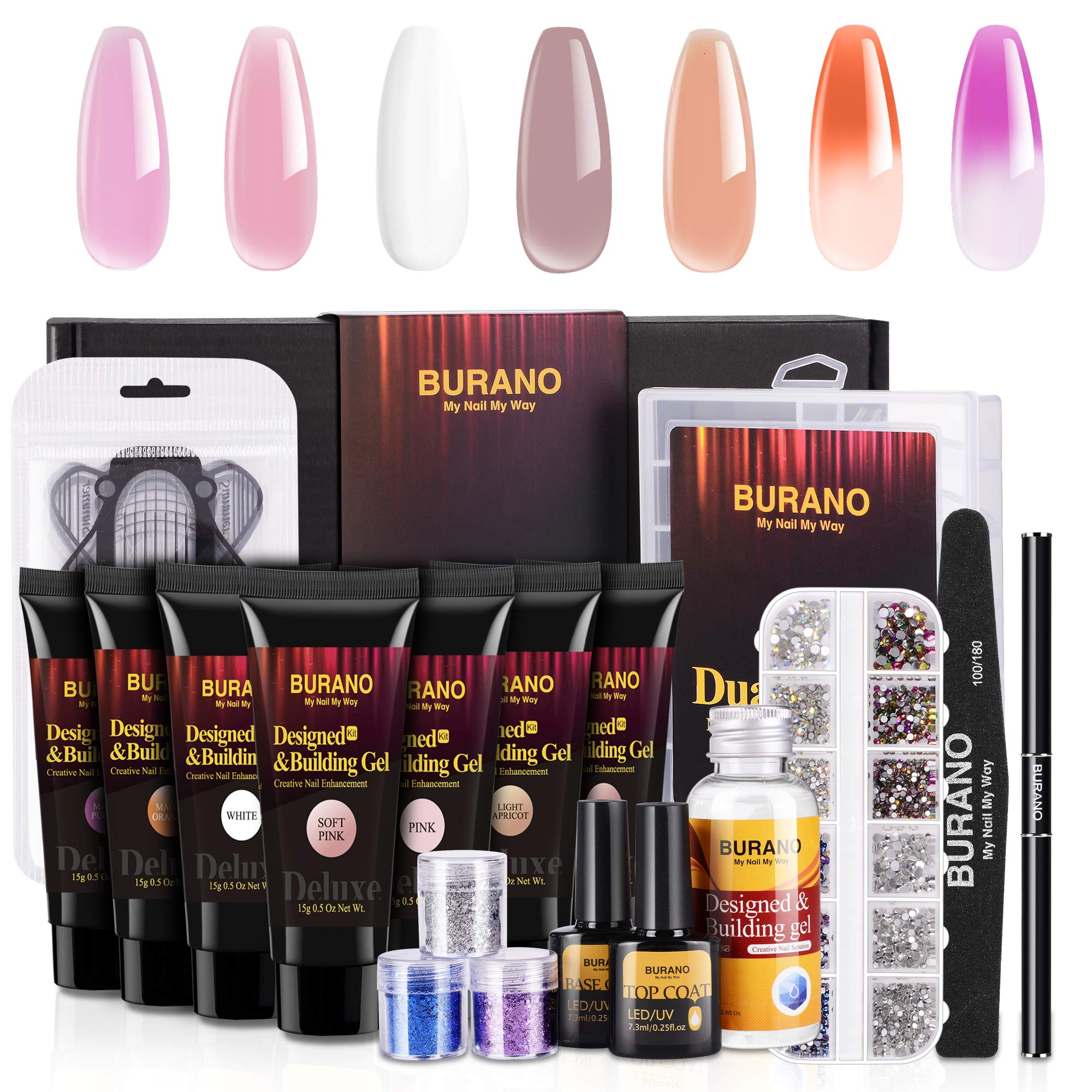 BURANO Deluxe Poly Nail Gel Kit with 7 Color Builder Gel, 3 Boxes Glitter Nail Sequins, AB Crystal Rhinestones, Temperature Color Changing Extension Nail Art Enhancement Kit with Slip Solution by BURANO