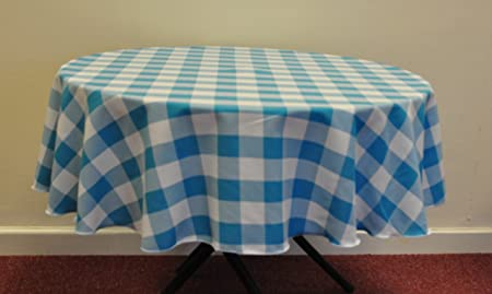Turquoise Gingham Check Polyester 58u0026quot; Round Tablecloth For Small  Kitchen Table (over Locked Using