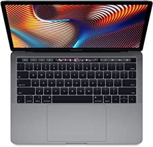 "Apple 13.3"" MacBook Pro with Touch Bar, Intel Core i5 Quad-Core, 8GB RAM, 256GB SSD, Intel Iris Plus Graphics 655 - Mid 2019, Space Gray (Renewed)"