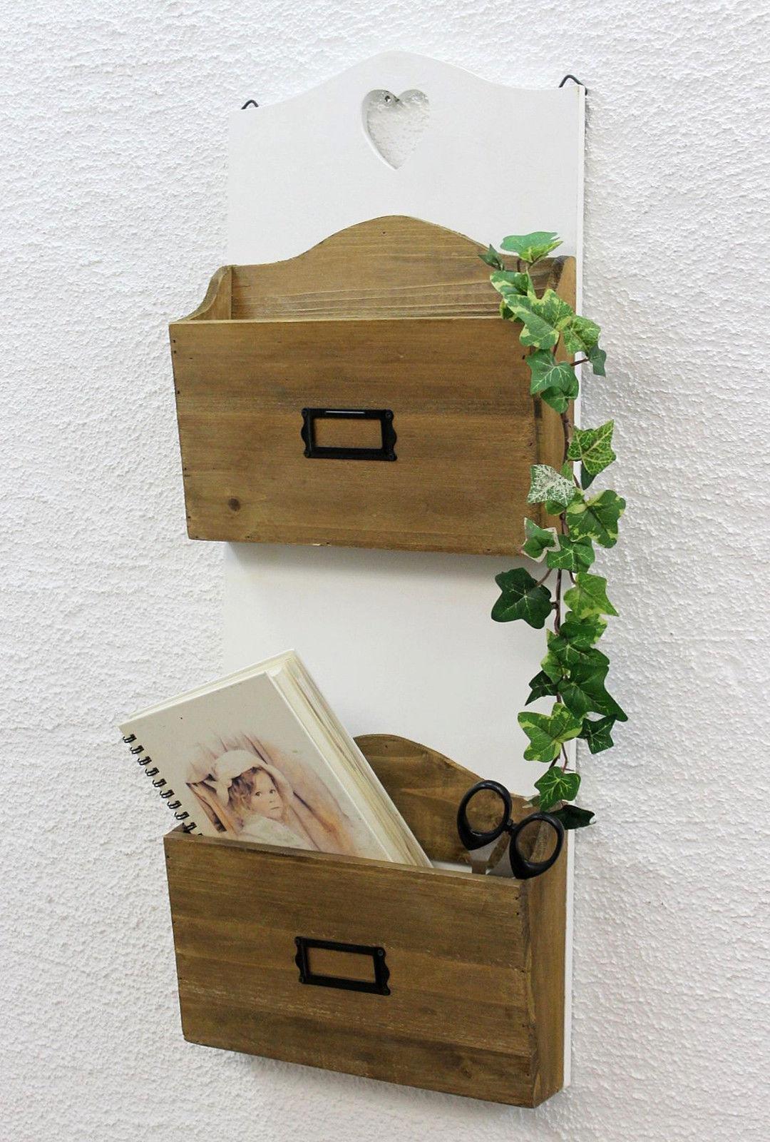 DanDiBo Shelf heart 12028 Shelf 60 cm Vintage Shabby Country house Kitchen shelf white