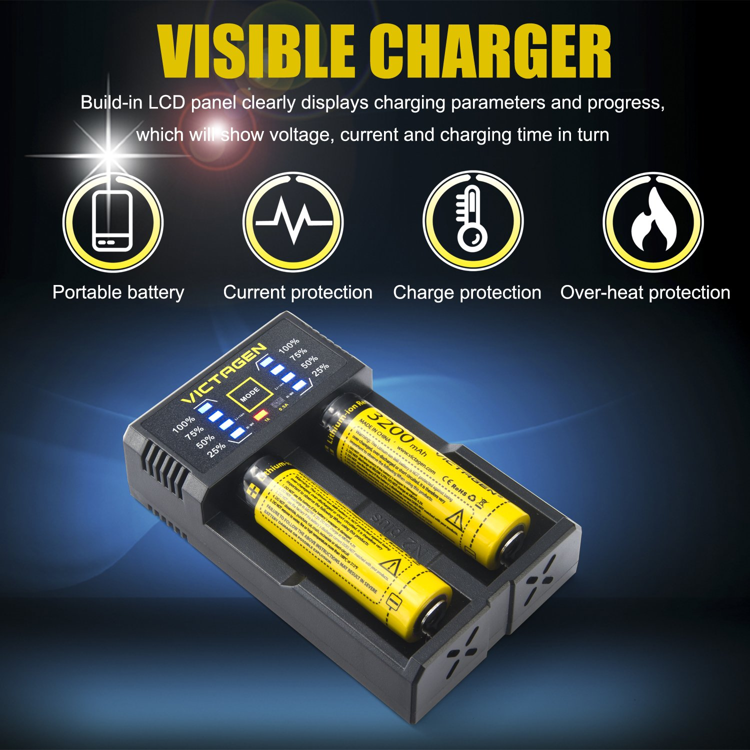 Victagen 18650 Lithium Battery (2 Packs) and Battery Charger, Universal Smart Charger For Rechargeable Batteries Li-ion 26650 18650/IMR/LiFePO4/Ni-MH/Ni-Cd 22650 18490 18350 17670 17500 16340 AA AAA C by Victagen (Image #8)