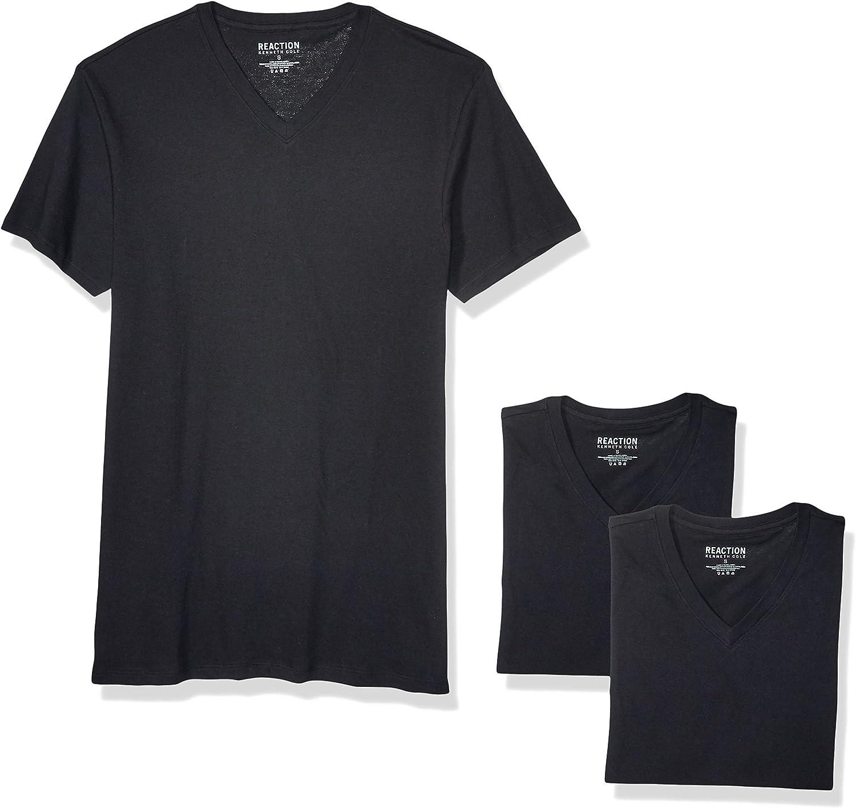 Kenneth Cole REACTION Men's Cotton Stretch V Neck T-Shirt, 3 Pack