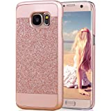 Galaxy S7 Edge Case, Imikoko™ Rose Gold Luxury Hybrid Beauty Crystal Rhinestone With Gold Sparkle Glitter PC Hard Diamond Case Cover For Samsung Galaxy S7 Edge (Rose Gold) (Rose Gold)