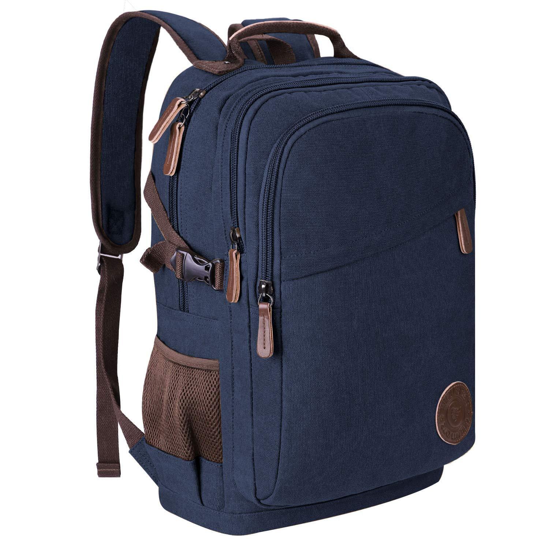 Rucksack Herren Canvas 17.3 Zoll Laptop-Rucksack 35L Schulrucksack Studenten Backpack Arbeitsrucksack für Alltag Business Casmpus Blau