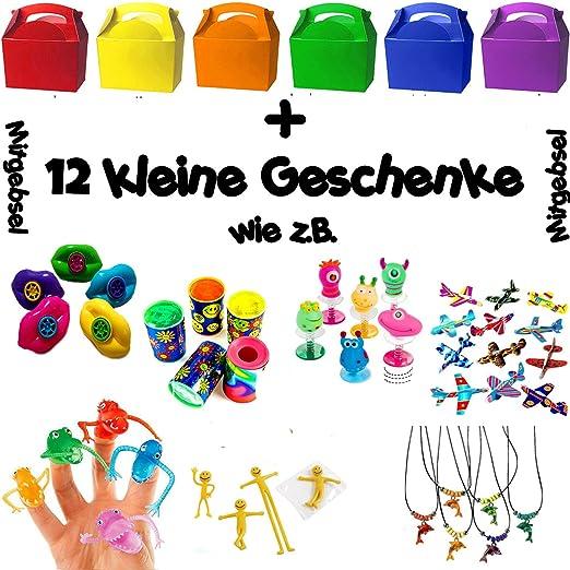 German Trendseller® - 6 x cajitas de cumpleaños ┃con 12 pequeños regalos ┃sorpresa ┃fiestas infantiles┃ idea de regalo┃cumpleaños de niños