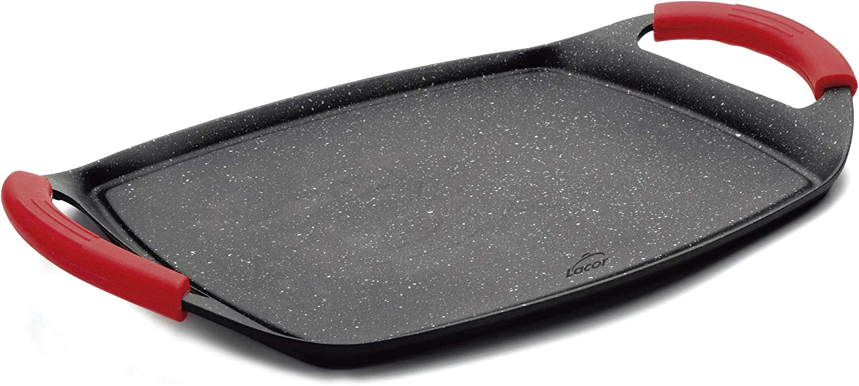 Lacor - 25547 - Plancha de Asar, Grill Eco Piedra - Compatibilidad: todo tipo de cocinas, Apta para inducción y horno, Recubrimiento antiadherente, Ecológica y libre de PFOA, 33,5 x 25 x 1,5 cm