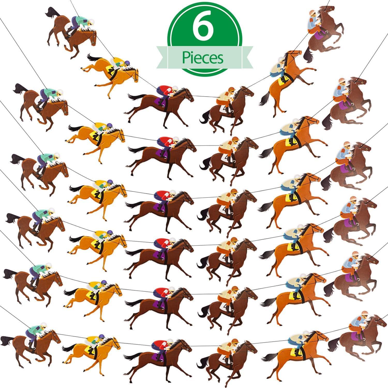 6 Piezas Pancartas de Caballos Guirnalda de Carrera de Caballos Guirnalda de Fiesta de Caballo Serpentina Decoración para Fiesta de Cumpleaños Boda