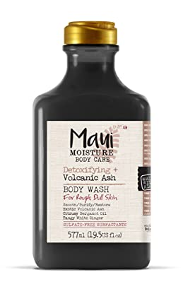 Maui Moisture Volcanic Body Wash 19.5 Ounce Moisturizing Body Wash Formulated for Rough Dull Dry Skin Normal Skin Combination Skin, with Aloe Vera Juice and Coconut Water, Silicone Free