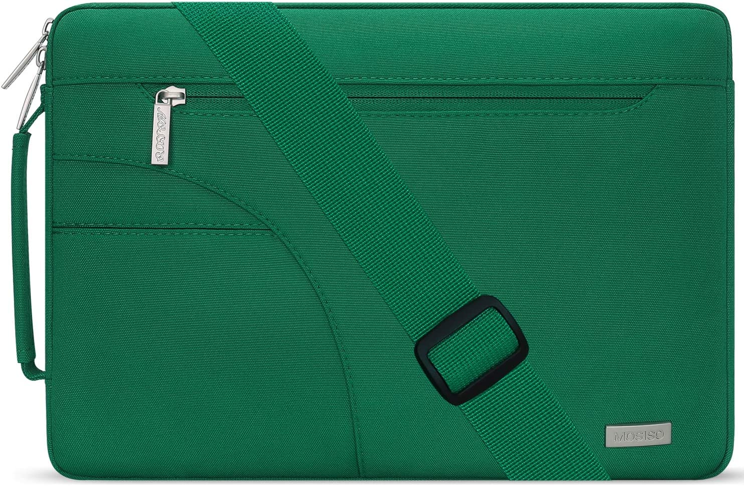 MOSISO Laptop Shoulder Bag Compatible with 13-13.3 inch MacBook Pro, MacBook Air, Notebook Computer, Polyester Briefcase Sleeve with Side Handle, Peacock Green