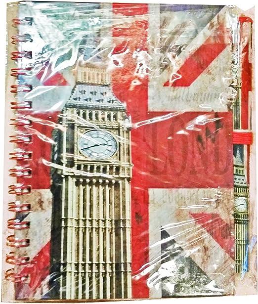 Cuaderno y bolígrafo, diseño del reloj Big Ben de Londres Cuaderno con diseño envejecido del Big Ben y la bandera de Reino Unido. Recuerdo de viaje. Moderno. Un regalo único. Cuaderno de