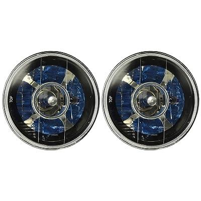"Spec-D Tuning LHP-7RNDJM 7"" Black Round Projector Headlights Clear Lens w/H4 Bulbs: Automotive"