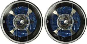 "Spec-D Tuning LHP-7RNDJM 7"" Black Round Projector Headlights Clear Lens w/H4 Bulbs"