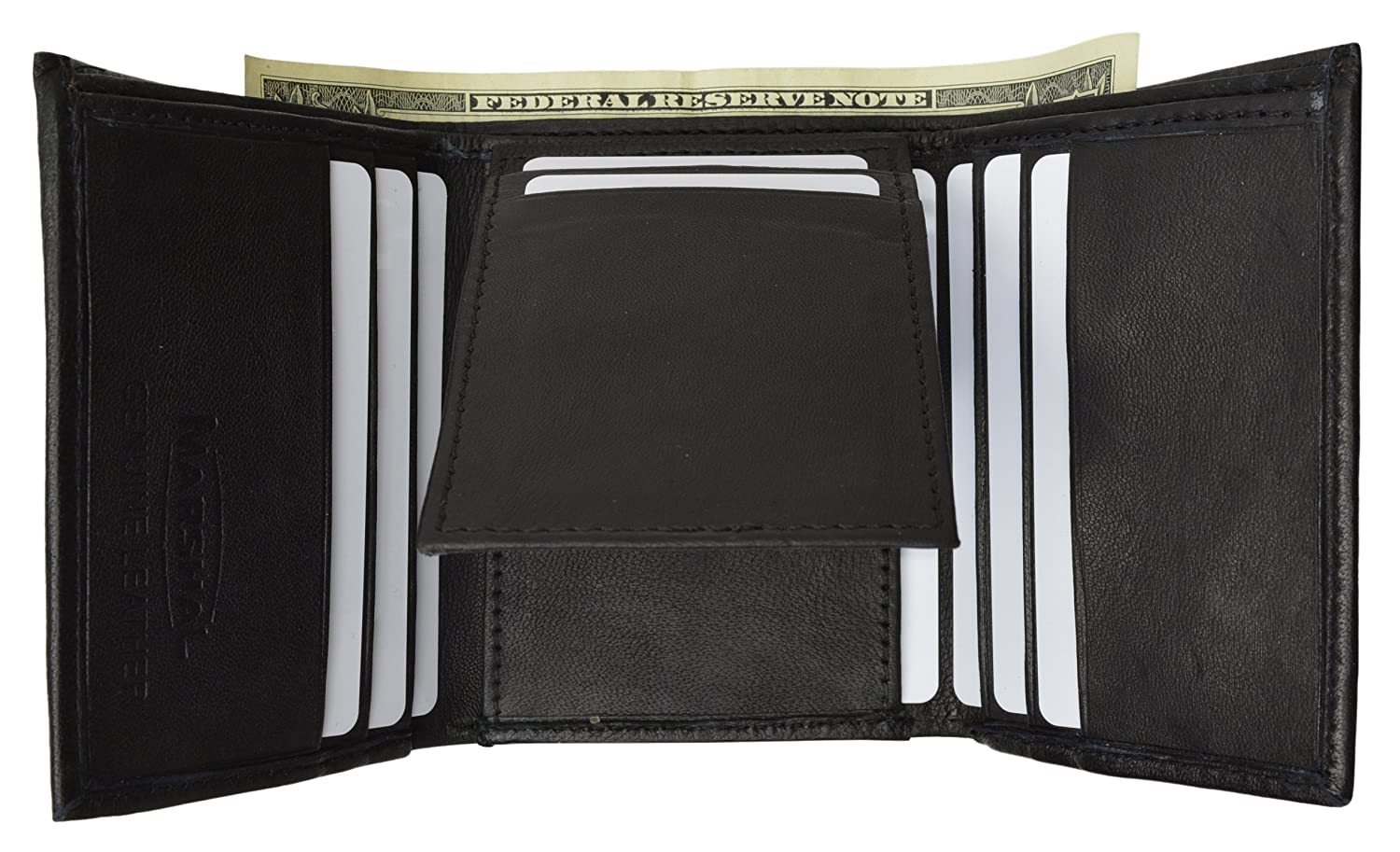 Mens Trifold Back ID /& Flip ID Leather Wallet by Marshal