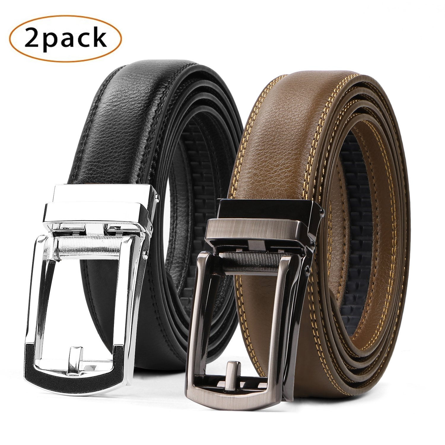WERFORU 2 Pack Leather Ratchet Dress Belt for Men Perfect Fit Waist Size Up to 44' with Automatic Buckle JWE067- Black+ Coffee2
