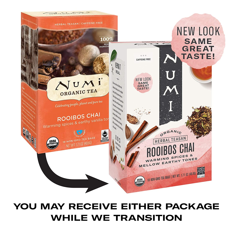 Numi Organic Tea Rooibos Chai, 18 Count Box of Tea Bags, Herbal Teasan, Caffeine-Free