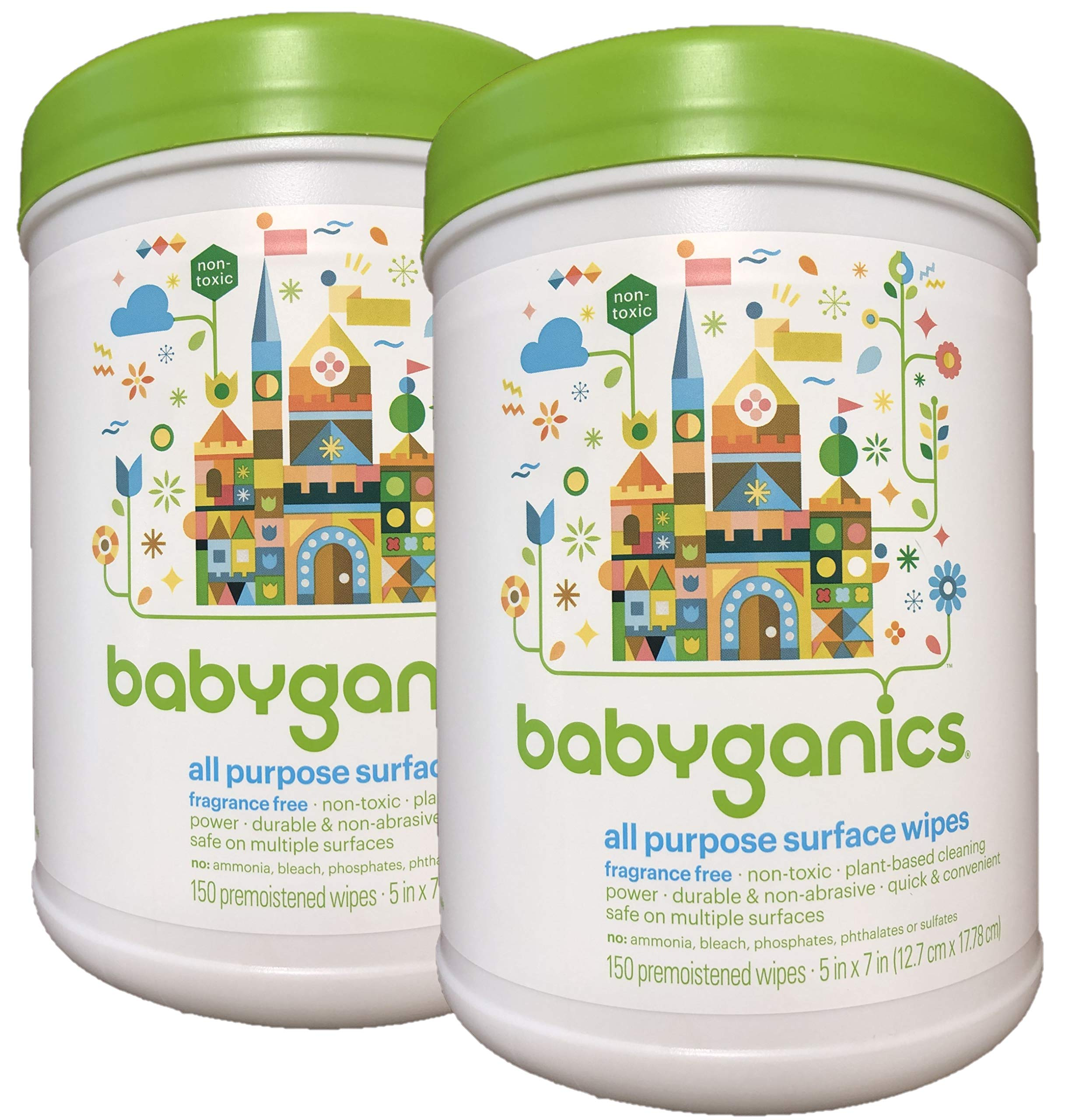 Babyganics All Purpose Surface Wipes, Fragrance Free, 300 Count (Contains Two 150-count canisters) by Babyganics
