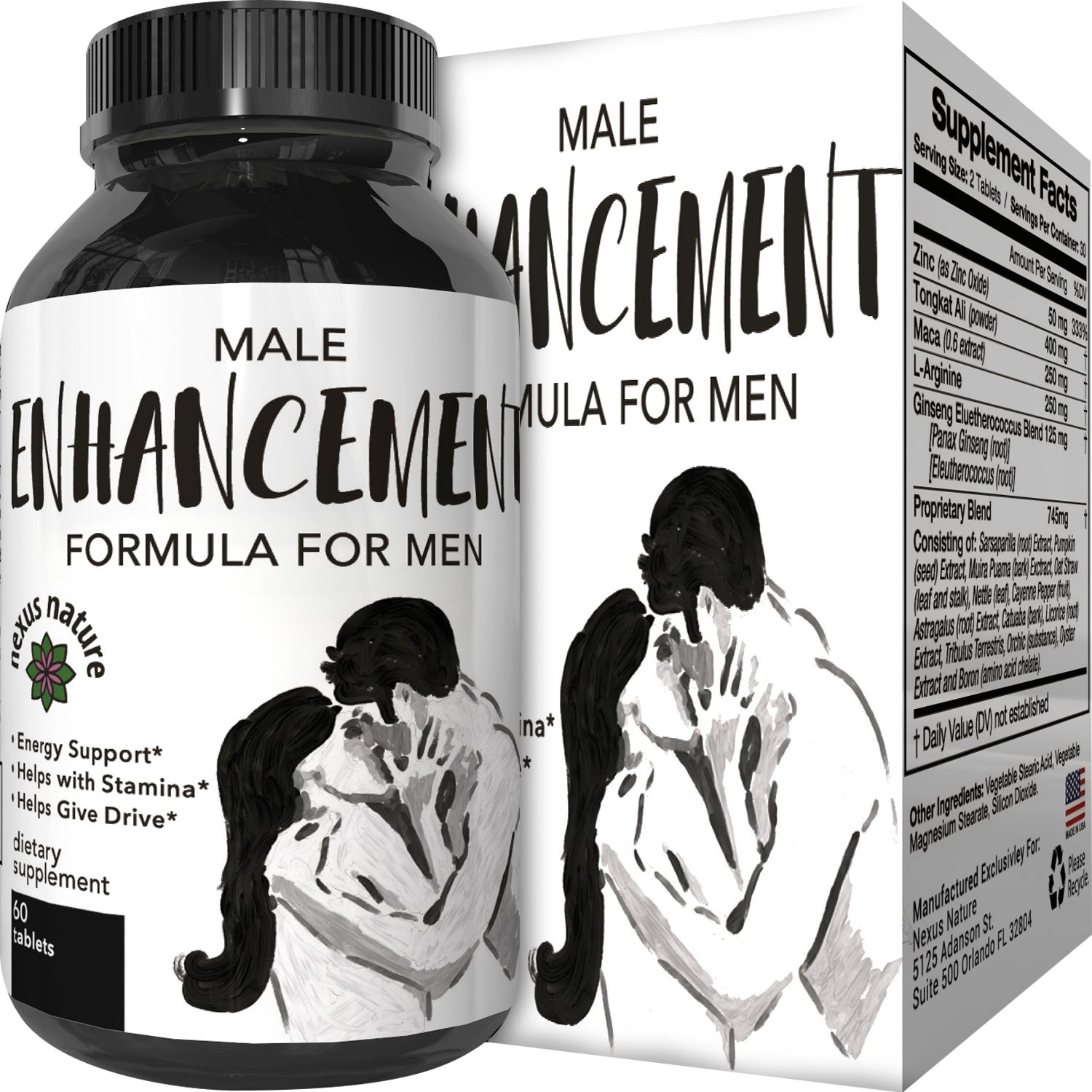 100% Pure Maca Supplement with Tongkat Ali, L-Arginine and Ginseng – Highest Grade & Quality – Potent Stamina Booster- For Men and Women – USA Made by Nexus Nature