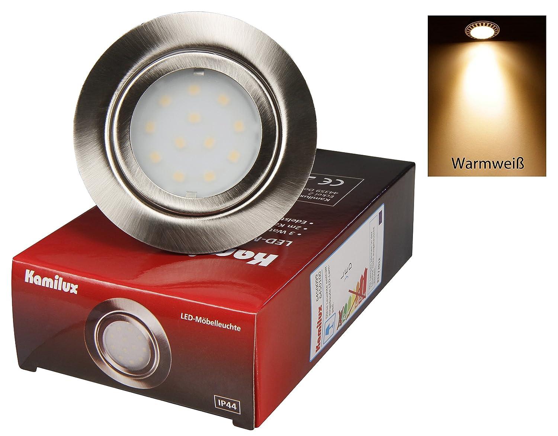 2er Set 12V Power LED Möbeleinbauleuchte IP20 Warmweiß 3 Watt LED entspricht einer 30 Watt Leuchte mit LED Trafo 12 Watt mit 230V Steckdosen Stecker [Energieklasse A+] Kamilux