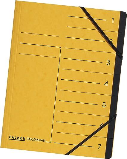 Falken Das Original Premium Ordnungsmappe aus extra starkem Colorspan-Karton DIN A4 7 F/ächer und 2 Gummiz/üge mit Organisationsdruck gelb Ringmappe Register-Mappe ideal f/ür B/üro und Schule