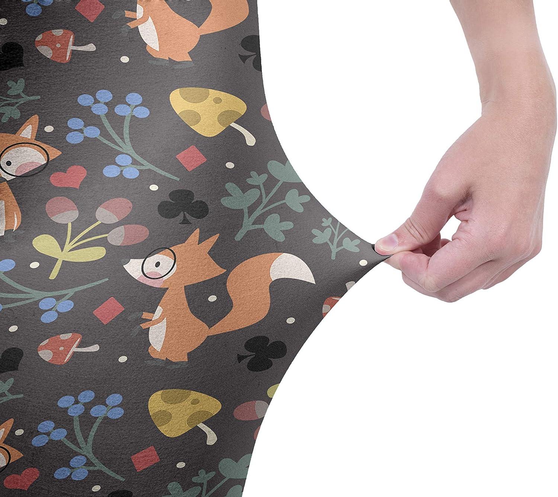 Kukubird Printed Wonderland Patterns Womens Yoga Leggings Gym Fitness Running Tights Size 8-12 Stretchable