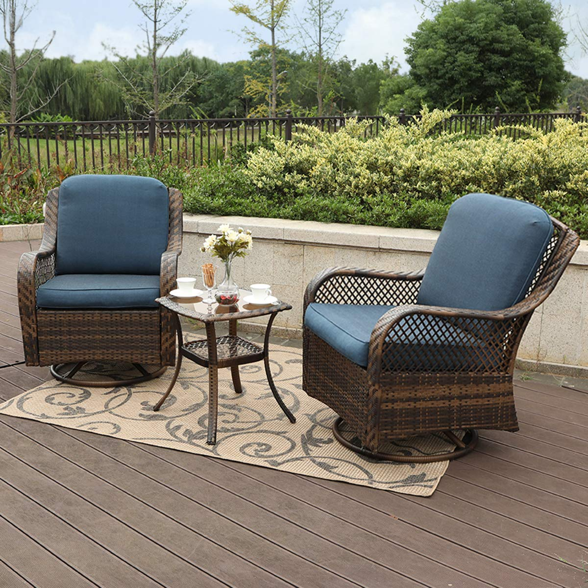 Amazon com phi villa rattan swivel rocking chairs 3 pc patio conversation set 2 cushioned chairs 1 side table garden outdoor