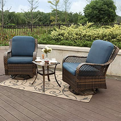 Fabulous Phi Villa Rattan Swivel Rocking Chairs 3 Pc Patio Conversation Set 2 Cushioned Chairs 1 Side Table Andrewgaddart Wooden Chair Designs For Living Room Andrewgaddartcom