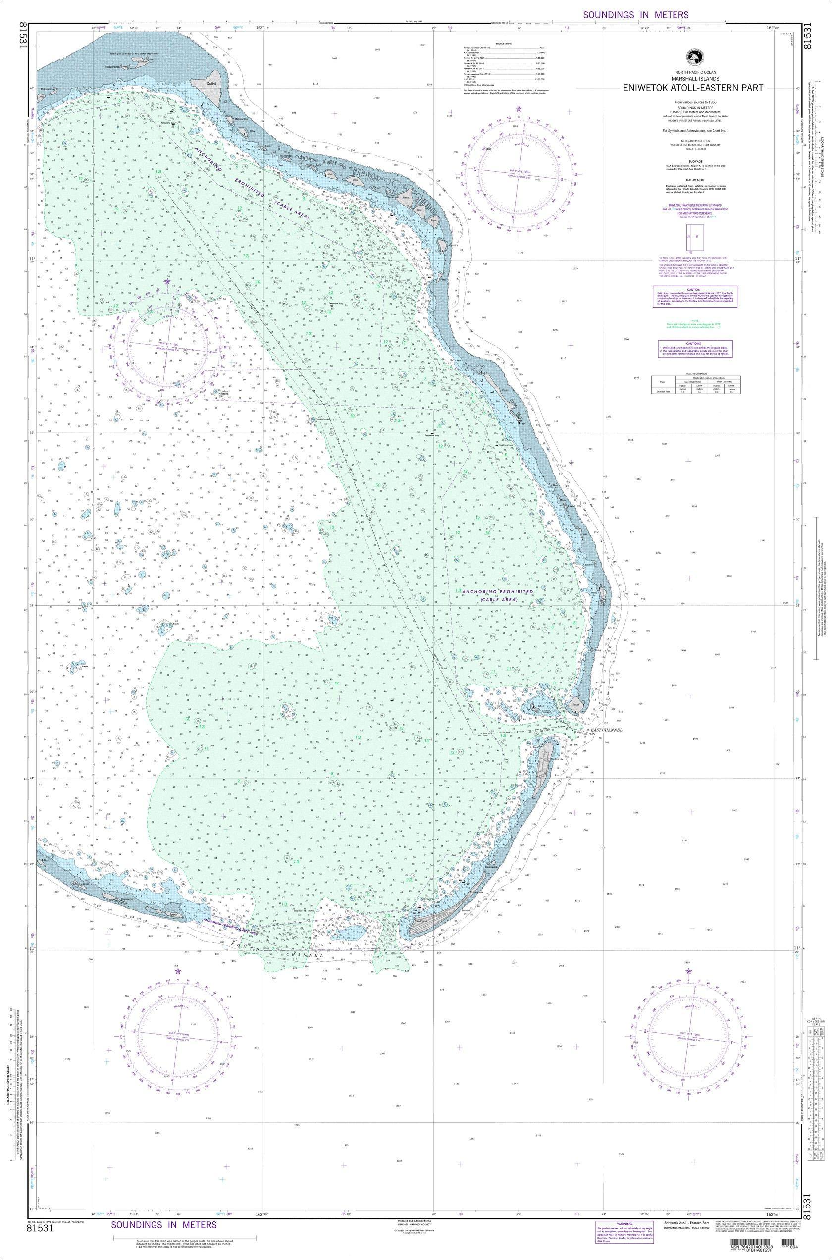 NGA Chart 81531 Enewetak Atoll-Eastern Part 35'' x 53'' Paper Chart