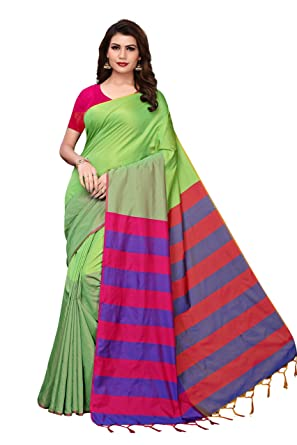 19ae477857 Shree Maruti Enterprise Women's Printed Cotton Silk Saree With Blouse Piece  (Light Green): Amazon.in: Clothing & Accessories