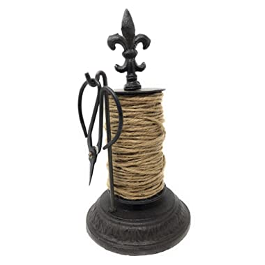 Miller Horticultural Cast Iron Fleu De Lis Twine Holder Dispenser with Jute Spool and Scissors, 9 Inches Tall