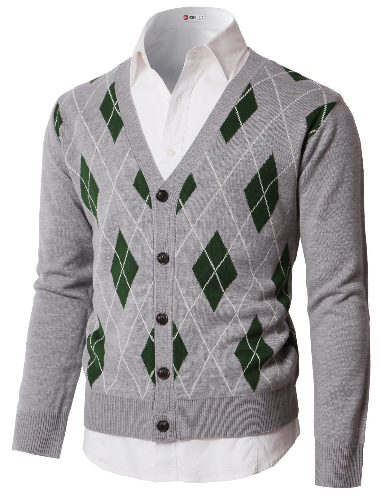 H2H Mens Casual Slim Fit Argyle Patterned V-Neck Collar Button Down Cardigan Sweater Gray US L/Asia XL (KMOCAL0189)