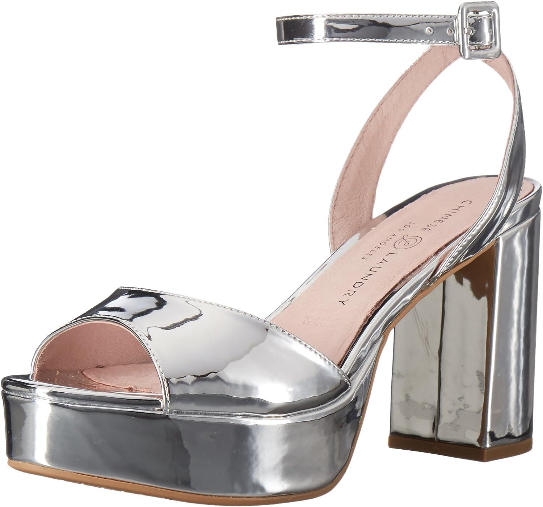 Chinese Laundry Women's Theresa Platform Dress Sandal, Silver Mirror,55 M US
