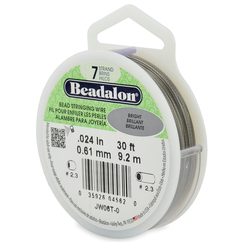 Beadalon 30-Feet 7-Strand Stainless Steel Bead Stringing Wire, 0.024-Inch, Bright JW06T-0