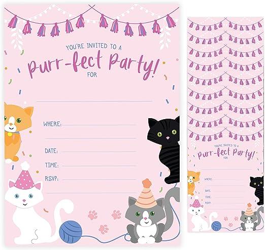 Amazon Com Tarjetas De Invitación De Cumpleaños Para Gatos