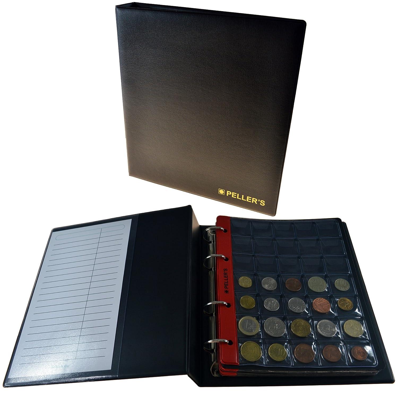 Album pour 350 monnaies (classeur M). 10 feuilles, 350 pièces 27mm x 27mm. Idéal pour monnaies jusqu'à 23 mm de diamètre. Pellers AM350B