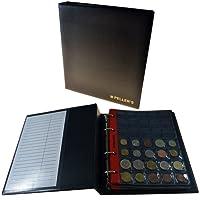 Album pour 275 monnaies (classeur M). 5+5 feuilles, 175 pochettes 27mm x 27mm, 100 pochettes 35mm x 40mm. Idéal pour monnaies jusqu'à 31 mm de diamètre.