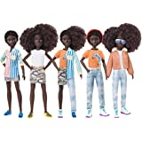 Creatable World Deluxe Character Kit DC-319 Customizable Doll with Black Curly Hair, 6 Pieces Doll Clothes, 3 Pairs Shoes and