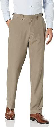 Haggar Men's Tonal Tic Weave Straight Fit Plain Front Pant