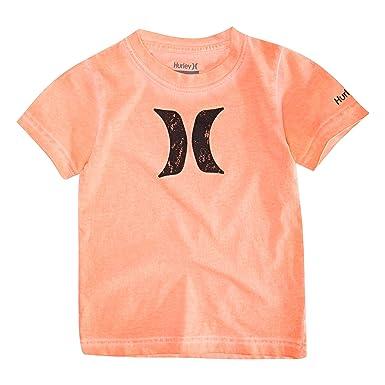 c71023367 Hurley Boys' Big Icon Graphic T-Shirt, Bright Mango Washed S