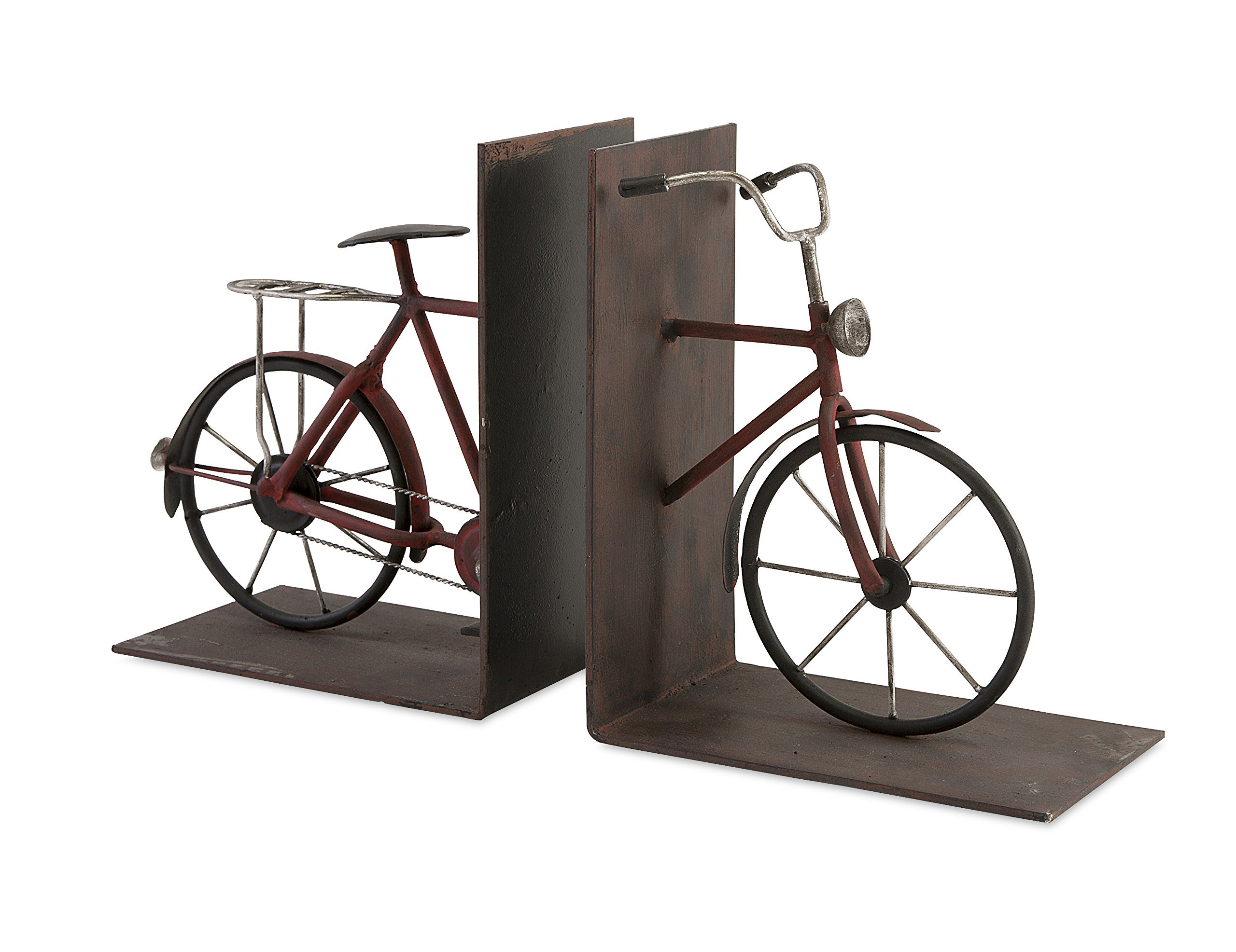 IMAX 74435-2 Renee Bicycle Book Ends, Set of Two - Decorative set of two handcrafted bicycle bookends with rust colored frames, chrome handles, and black tires Sturdy set of two can hold up your heaviest books Due to the artisan crafted nature of this product, no two will be identical - living-room-decor, living-room, home-decor - 81sjhqUqd%2BL -