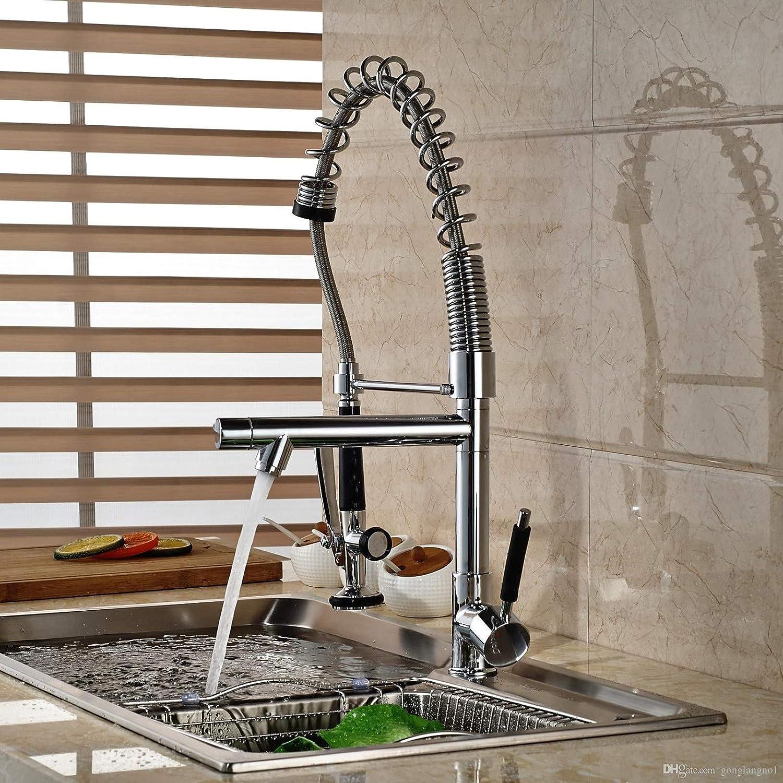 Decorry Chrome Massivem Messing Küchenarmatur Doppel Sprayer Schiff Sink Mischbatterie Deck Montiert Sinlge Griff