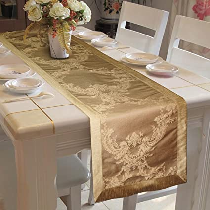 Lushomes Gold Pattern 1 Jacquard Table Runner With Polyester Border (Size: 16