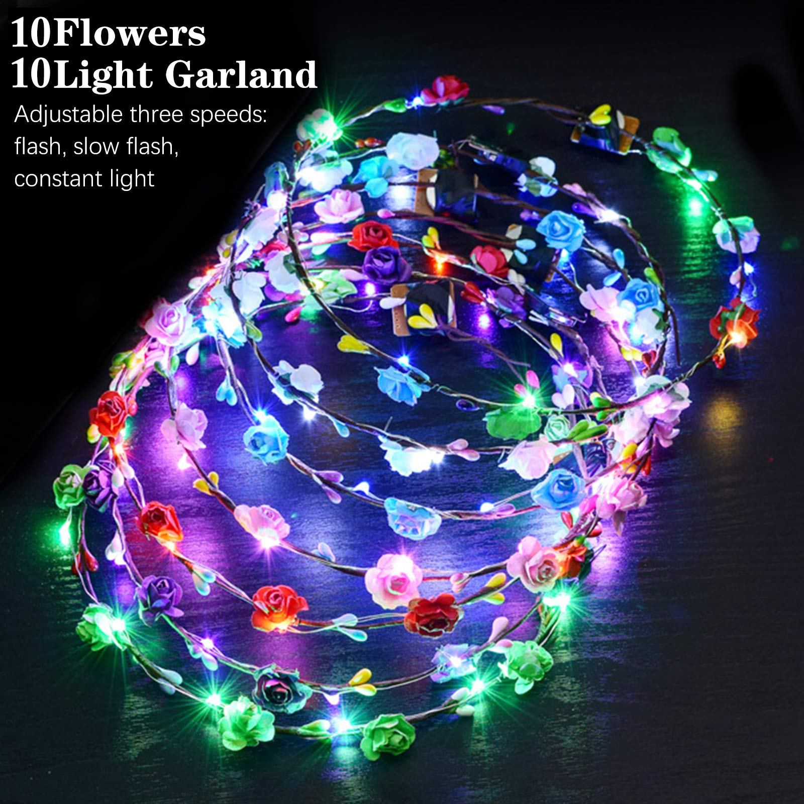 LED Flower Crown, ZOYLINK 12PCS Flower Wreath Garland Flower Headdress Luminous Headpiece Light-up Hair Hoop for Wedding Bridal Night Party Decor Festival Holiday Christmas Halloween Party